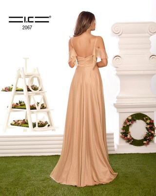Sexy Spaghetti Straps V-neck Prom Dress with Ruffles_2