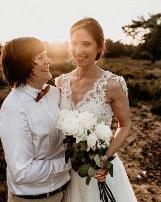 Chic A-Line Chiffon Lace Wedding Dress On Sale_3