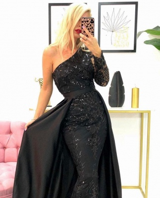 One-Shoulder Mermaid Lace Prom Dress with Beadings_2