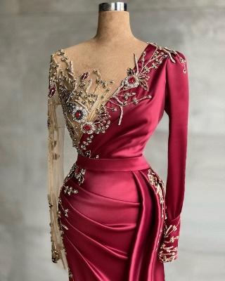 Asymmetrical Mermaid Long Sleeves Prom Dress with Ruffles_2