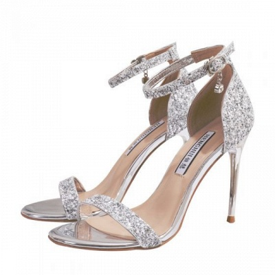 Sparkly Silver Evening Party Womens Sandals 2021 Sequins Ankle Strap 10 cm Stiletto Heels Open Toe High Heels_4