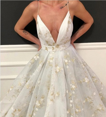 Sexy Deep-V-Neck Flowers Prom Dress On Sale_2