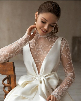 Modern High-Neck Satin Tulle Lace Long Sleeves Wedding Dress with Bow_3