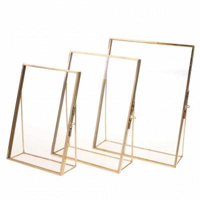 Simple Antique Gold Rectangle Glass Photo Frame Folding Desktop Picture Brass Frames for Portraits and Landscape Home Decoration_4