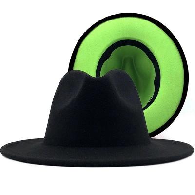Two Tones Hats High Quality Wool Felt Fedora Hat For Men & Women Church Fedoras_4