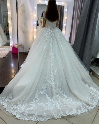 Princess Long Sleeves Tulle Wedding Dress with Appliques_4