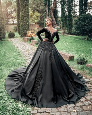 Princess Lace Appliques Black Wedding Dresses with sleeves_3