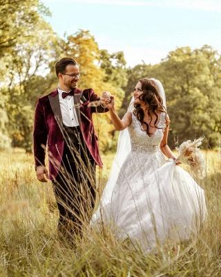 A Line V neck Lace White Wedding Dresses_4