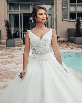 A line Lace Tulle Sleeveless V Neck Wedding dresses_5