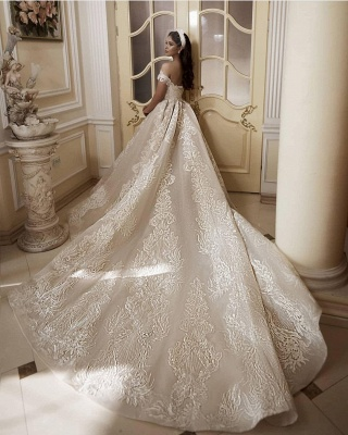 Glamorous Off-Shoulder Tulle Lace Wdding Dress_2