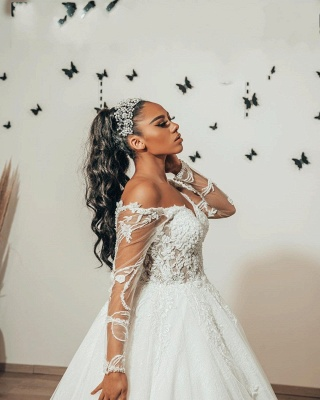 Modern A Line Lace Wedding dresses with sleeves_3