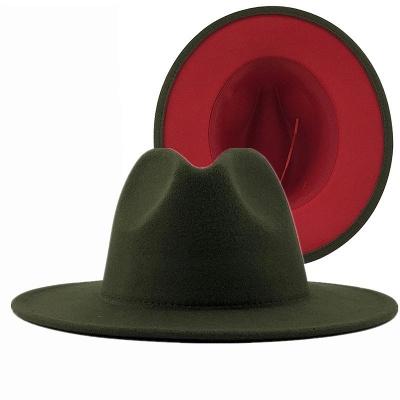 Two Tones Hats High Quality Wool Felt Fedora Hat For Men & Women Church Fedoras_5