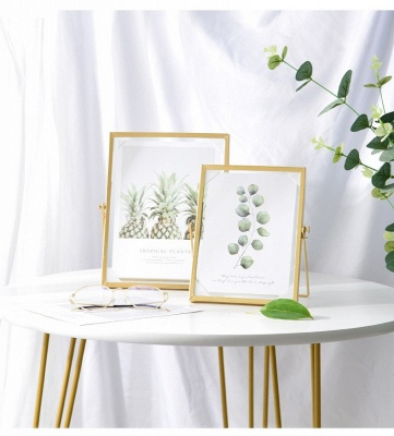 Simple Geometric Metal Three-dimensional Glass Photo Frame Golden Wrought Iron Creative Home Decoration Frame_4