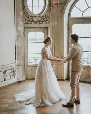 Simple Princess lace Boho wedding dresses cheap_4