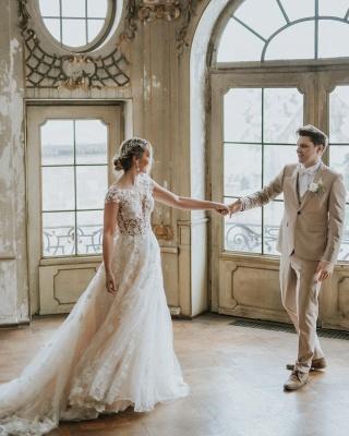 Simple Princess lace Boho wedding dresses cheap_5