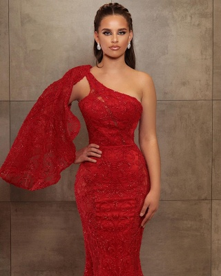 Sexy One-Shoulder Mermaid Lace Prom Dress_2