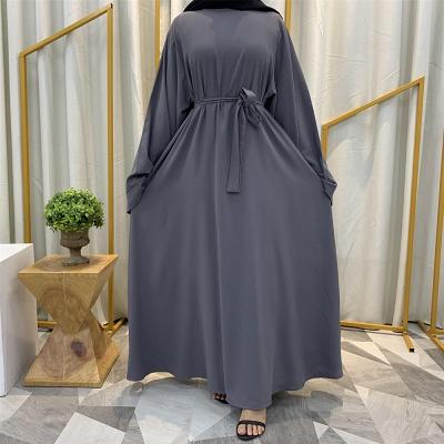 Maxi Dress Abaya Kaftan Women Tie Waist Loose Causul Long Sleeve Muslim Hijab Dress Islam Dubai Turkey Fashion Modset Robe_3
