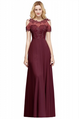 A-Line Appliques Scoop Beaded Silver Cold-Shoulder Bridesmaid Dresses_2