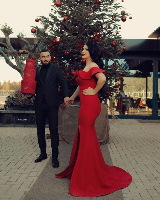 Off the Shoulder Red Prom Dresses Cheap Evening dresses long_4