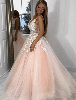Sexy Deep-V-Neck Tulle Lace Prom Dress_2