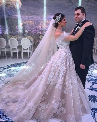 Modern Off-Shoulder Tulle Lace Sleeveless Wedding Dress_4