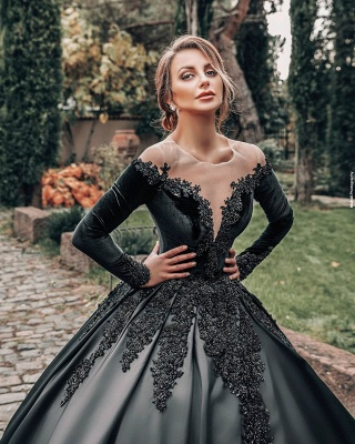 Princess Lace Appliques Black Wedding Dresses with sleeves_4