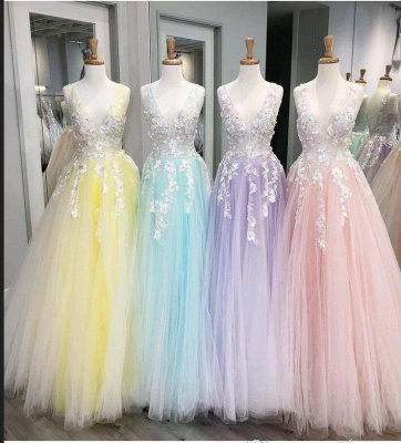 Sexy Deep-V-Neck Tulle Lace Prom Dress_5