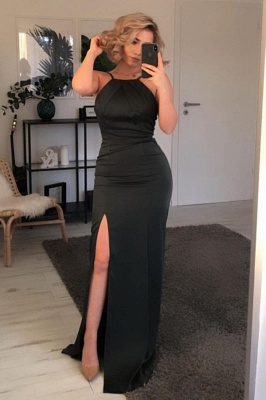 Chic Mermaid Black Prom Dress with Slit_1