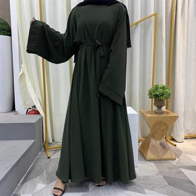 Maxi Dress Abaya Kaftan Women Tie Waist Loose Causul Long Sleeve Muslim Hijab Dress Islam Dubai Turkey Fashion Modset Robe_5