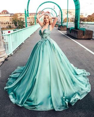 Lighter green evening dresses ball gown Prom dresses long cheap_2