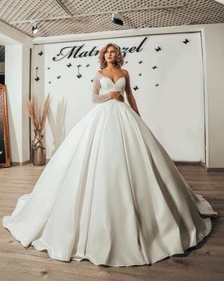 Luxury Princess  One Shoulder Wedding dresses with sleeves_4