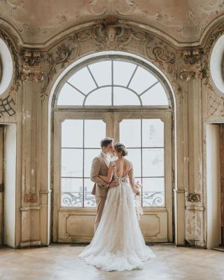 Simple Princess lace Boho wedding dresses cheap_7