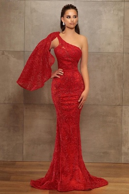 Sexy One-Shoulder Mermaid Lace Prom Dress_1