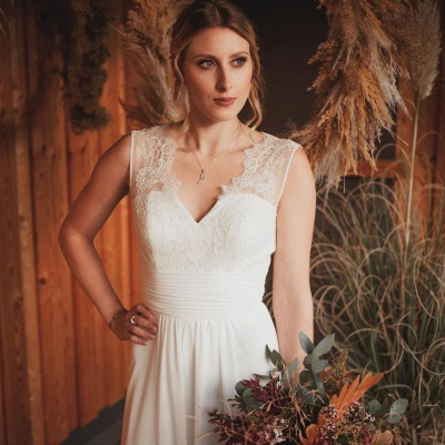 Simple A-Line Lace Chiffon Wedding Dress_2
