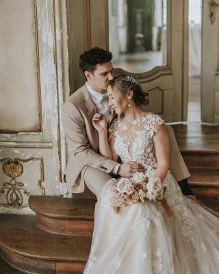 Simple Princess lace Boho wedding dresses cheap_3
