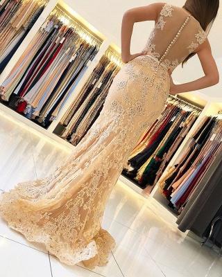 Elegant Mermaid Sleeveless Lace Prom Dress_2