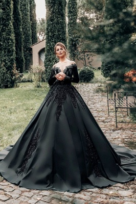 Princess Lace Appliques Black Wedding Dresses with sleeves_1