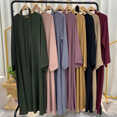 Maxi Dress Abaya Kaftan Women Tie Waist Loose Causul Long Sleeve Muslim Hijab Dress Islam Dubai Turkey Fashion Modset Robe_11