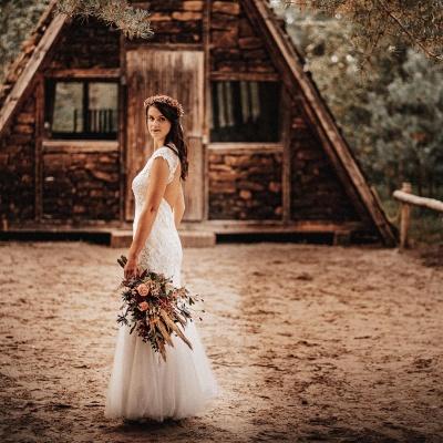 Affordable Tulle Lace Sleeveless Wedding Dress_3