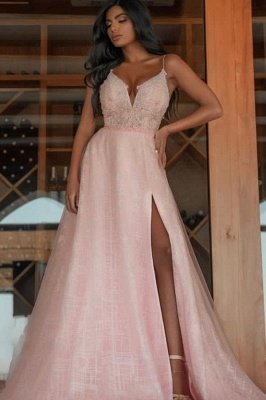 Sexy Spaghetti Straps V-Neck Prom Dress with Slit