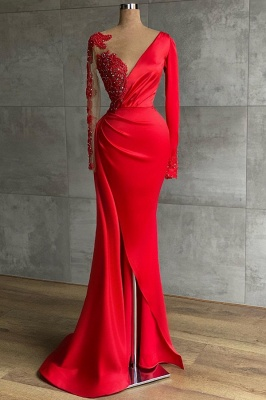 Asymmetrical Mermaid Long Sleeves Ruffles Prom Dress with Slit