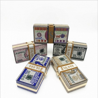 New Designer USD BIG SALE CHEAPEST PRICE FACTORY SELL Women Evening Party Crystal Stack of Money Purses Funny Clutches