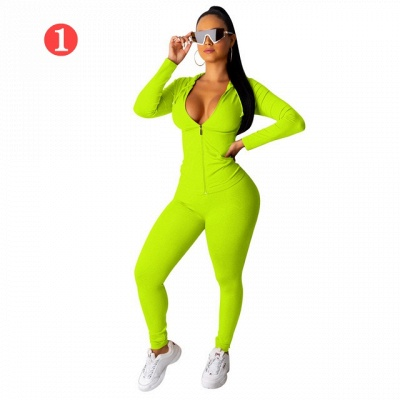 New 2021 Two Pieces Outfits Women Bodycon Solid Hoodie Long Sleeve Jacket & Long Legging Sweatsuit_5