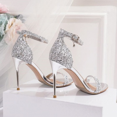 Sparkly Silver Evening Party Womens Sandals 2021 Sequins Ankle Strap 10 cm Stiletto Heels Open Toe High Heels_3