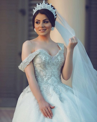 Ball Gown Off-Shoulder Tulle Lace Wedding Dress_5