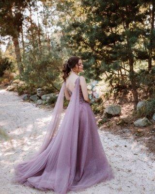 Beautiful long V neckline purple Prom dresses with glitter_2