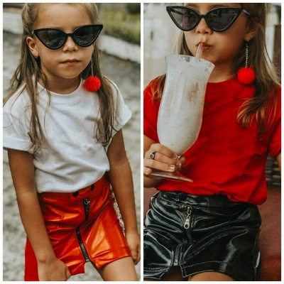 New Toddler Infant Child Kids Baby Girl PU leather Skirt Princess Sequins Leather Mini Skirt Zipper dress Outfits