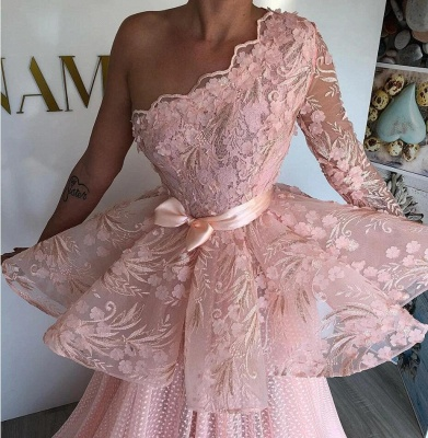 One Shoulder Pink Tulle Lace Prom Dress Online_2
