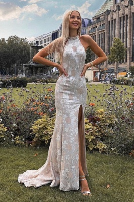 Sexy Backless Lace Slit Prom Dress On Sale
