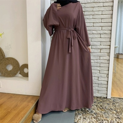 Maxi Dress Abaya Kaftan Women Tie Waist Loose Causul Long Sleeve Muslim Hijab Dress Islam Dubai Turkey Fashion Modset Robe